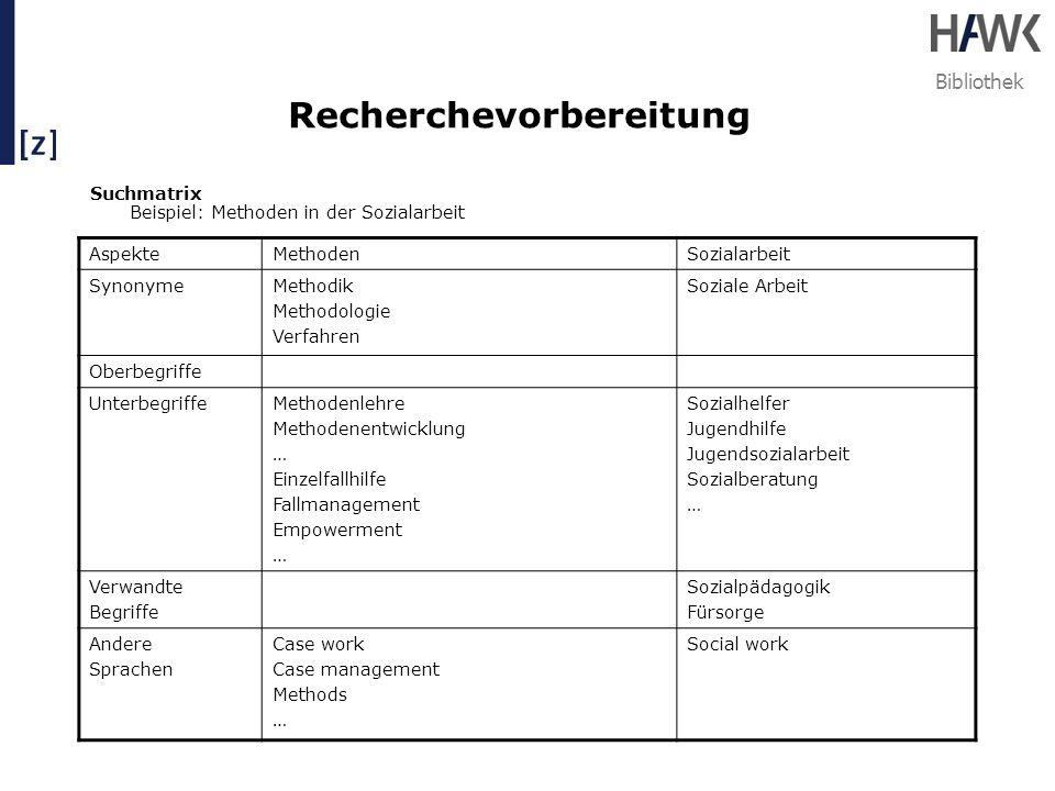 Bibliothek Recherchevorbereitung Suchmatrix Beispiel: Methoden in der Sozialarbeit AspekteMethodenSozialarbeit SynonymeMethodik Methodologie Verfahren