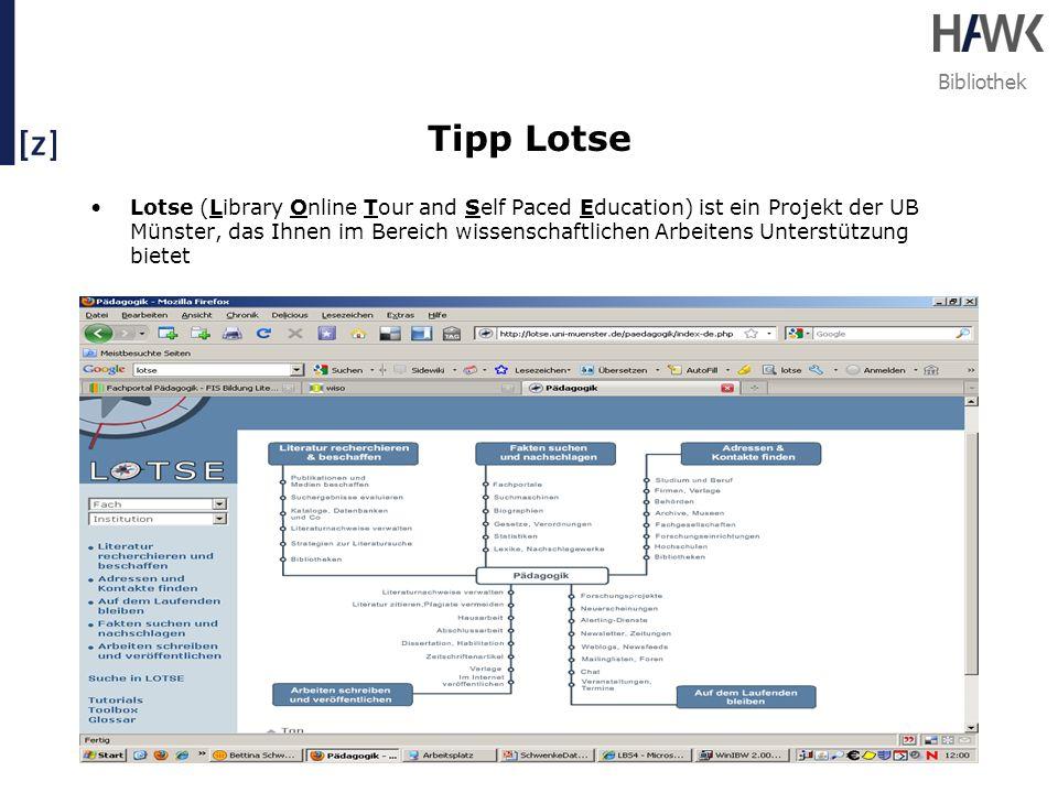 Bibliothek Tipp Lotse Lotse (Library Online Tour and Self Paced Education) ist ein Projekt der UB Münster, das Ihnen im Bereich wissenschaftlichen Arb