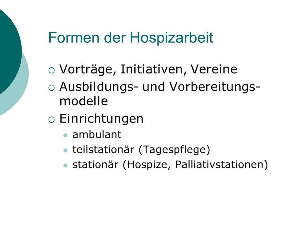 Formen der Hospizarbeit Vorträge, Initiativen, Vereine Ausbildungs- und Vorbereitungs- modelle Einrichtungen ambulant teilstationär (Tagespflege) stat