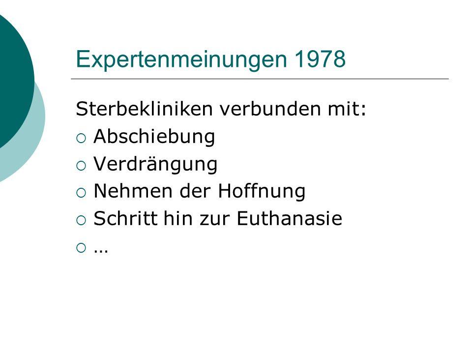 Expertenmeinungen 1978 Sterbekliniken verbunden mit: Abschiebung Verdrängung Nehmen der Hoffnung Schritt hin zur Euthanasie …