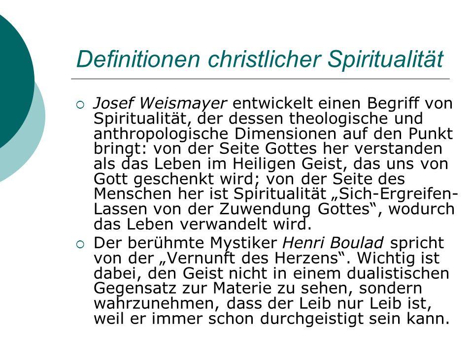 Definitionen christlicher Spiritualität Josef Weismayer entwickelt einen Begriff von Spiritualität, der dessen theologische und anthropologische Dimen