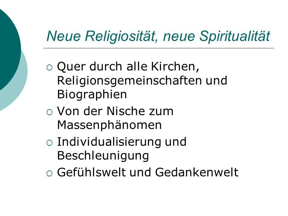 Neue Religiosität, neue Spiritualität Quer durch alle Kirchen, Religionsgemeinschaften und Biographien Von der Nische zum Massenphänomen Individualisi
