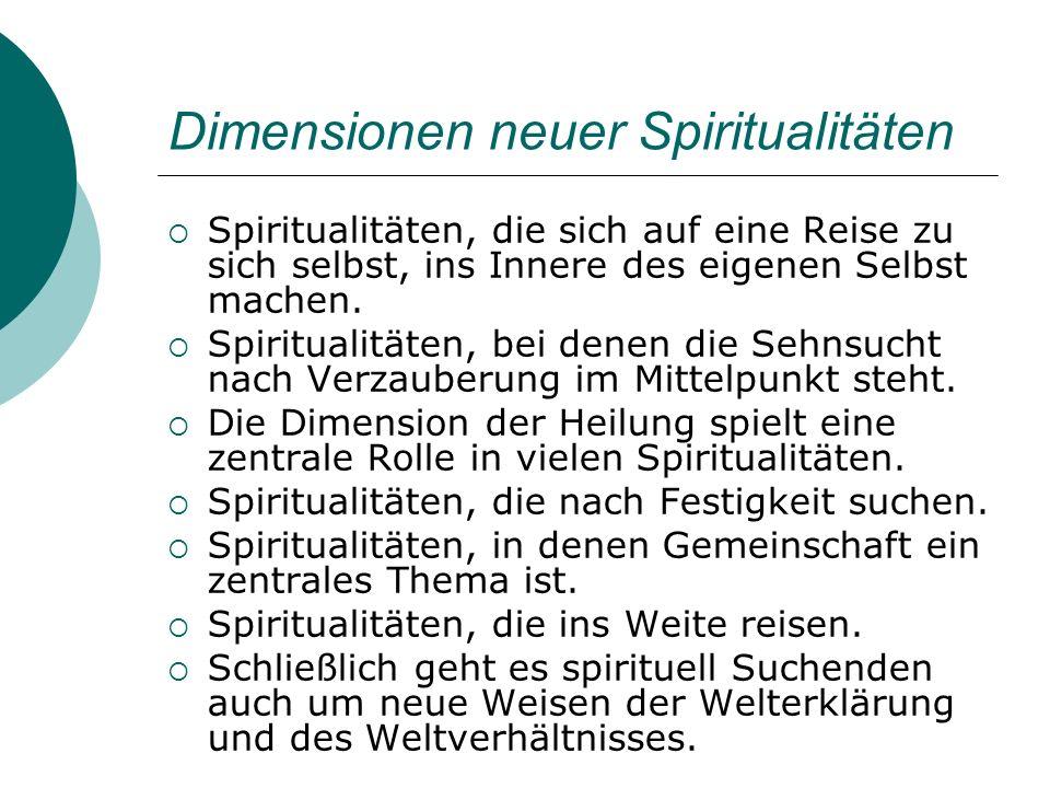 Dimensionen neuer Spiritualitäten Spiritualitäten, die sich auf eine Reise zu sich selbst, ins Innere des eigenen Selbst machen. Spiritualitäten, bei