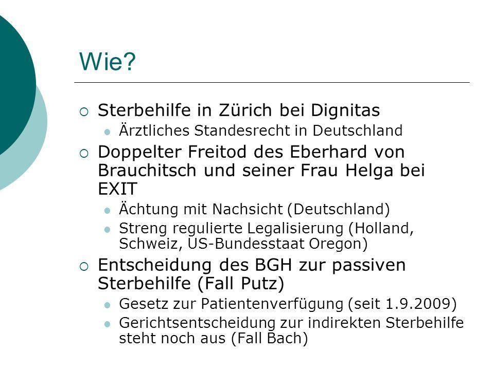 Wie? Sterbehilfe in Zürich bei Dignitas Ärztliches Standesrecht in Deutschland Doppelter Freitod des Eberhard von Brauchitsch und seiner Frau Helga be