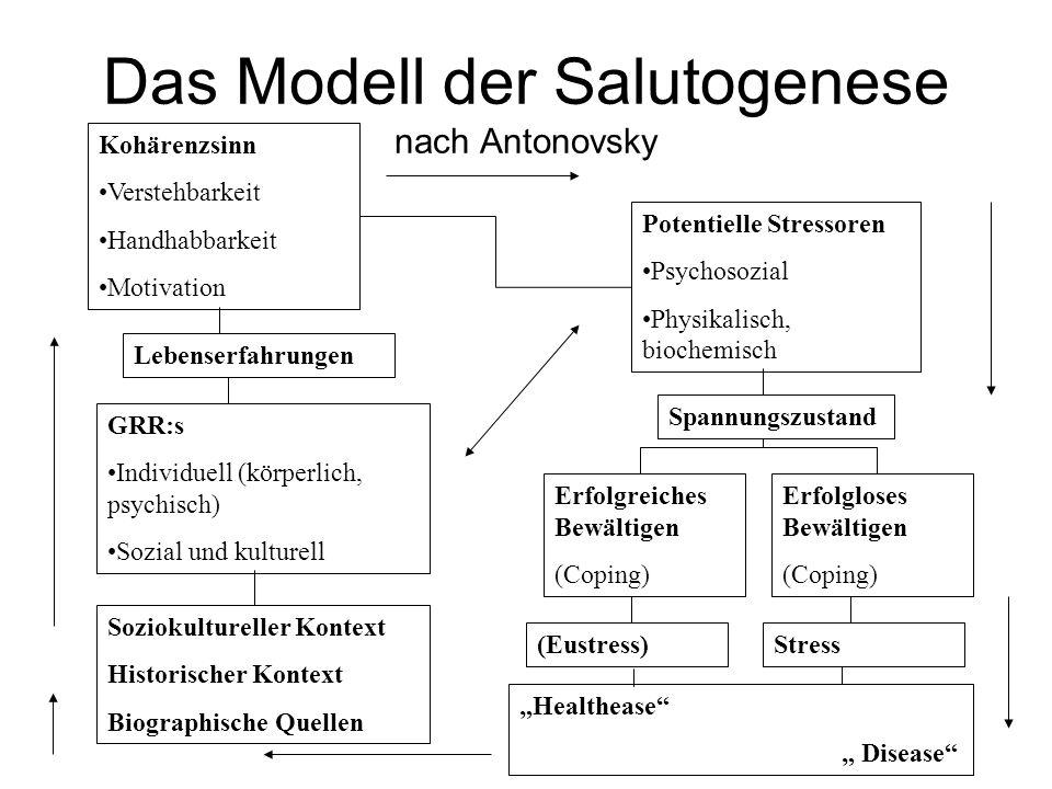 Das Modell der Salutogenese nach Antonovsky Kohärenzsinn Verstehbarkeit Handhabbarkeit Motivation Soziokultureller Kontext Historischer Kontext Biogra