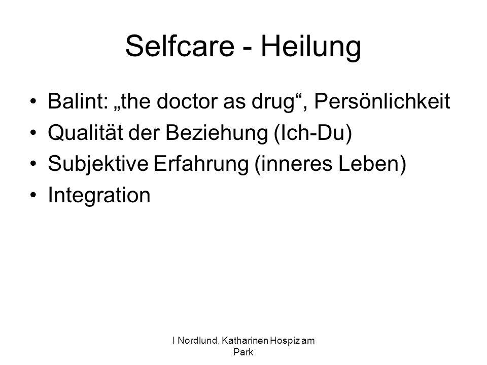 I Nordlund, Katharinen Hospiz am Park Selfcare - Heilung Balint: the doctor as drug, Persönlichkeit Qualität der Beziehung (Ich-Du) Subjektive Erfahrung (inneres Leben) Integration
