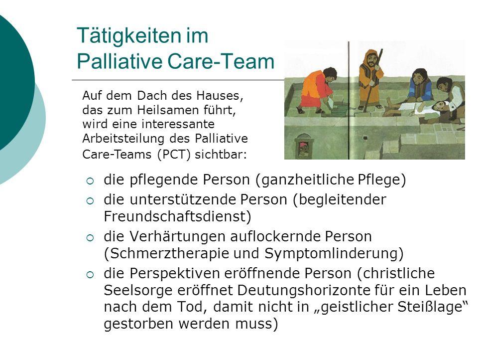 Tätigkeiten im Palliative Care-Team die pflegende Person (ganzheitliche Pflege) die unterstützende Person (begleitender Freundschaftsdienst) die Verhä