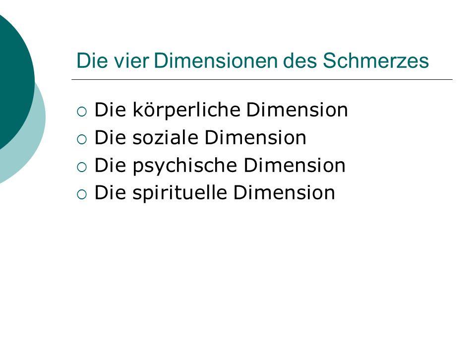 Die vier Dimensionen des Schmerzes Die körperliche Dimension Die soziale Dimension Die psychische Dimension Die spirituelle Dimension