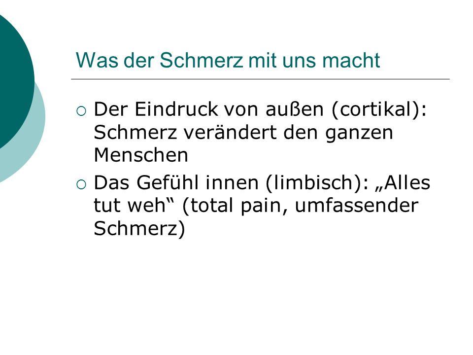 Was der Schmerz mit uns macht Der Eindruck von außen (cortikal): Schmerz verändert den ganzen Menschen Das Gefühl innen (limbisch): Alles tut weh (tot