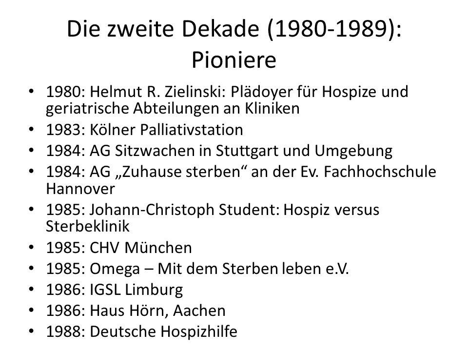 Die zweite Dekade (1980-1989): Pioniere 1980: Helmut R. Zielinski: Plädoyer für Hospize und geriatrische Abteilungen an Kliniken 1983: Kölner Palliati