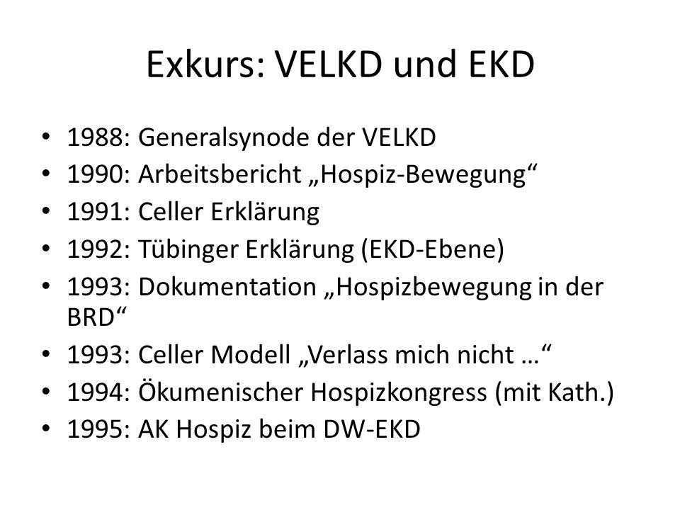 Exkurs: VELKD und EKD 1988: Generalsynode der VELKD 1990: Arbeitsbericht Hospiz-Bewegung 1991: Celler Erklärung 1992: Tübinger Erklärung (EKD-Ebene) 1