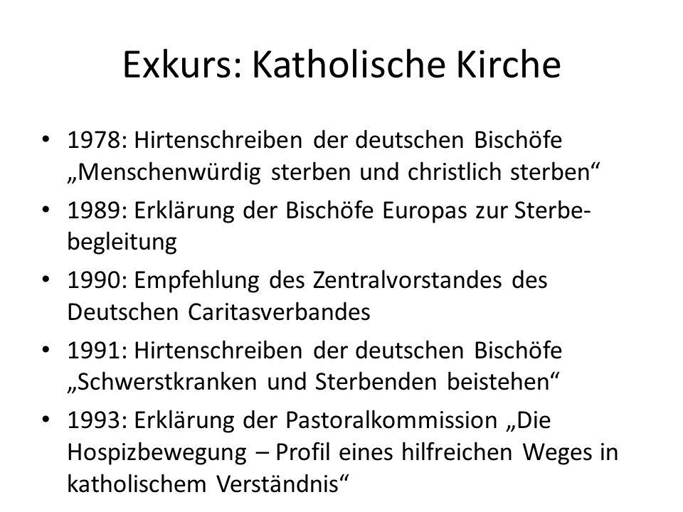 Exkurs: Katholische Kirche 1978: Hirtenschreiben der deutschen Bischöfe Menschenwürdig sterben und christlich sterben 1989: Erklärung der Bischöfe Eur