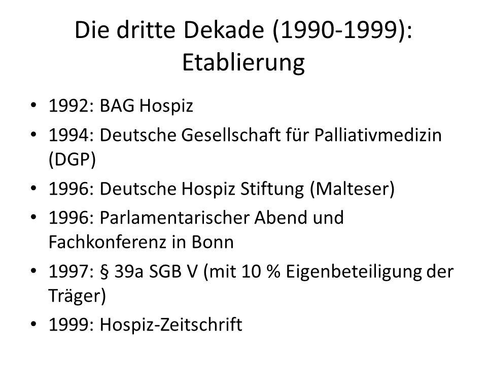 Die dritte Dekade (1990-1999): Etablierung 1992: BAG Hospiz 1994: Deutsche Gesellschaft für Palliativmedizin (DGP) 1996: Deutsche Hospiz Stiftung (Mal