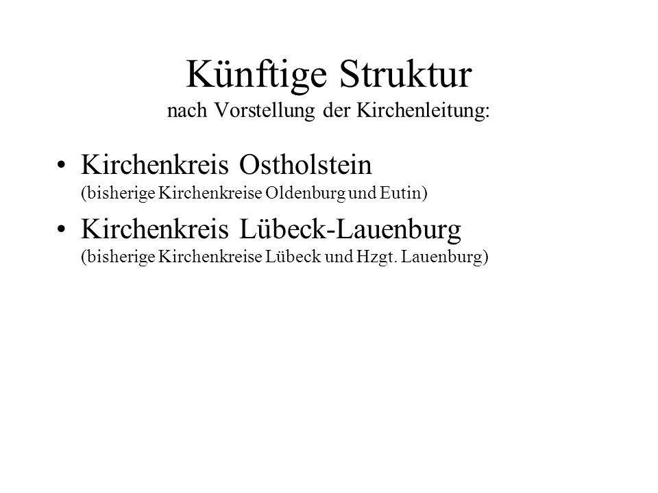 Bisherige Struktur: Kirchenkreis Oldenburg Kirchenkreis Eutin Kirchenkreis Lübeck Kirchenkreis Herzogtum Lauenburg