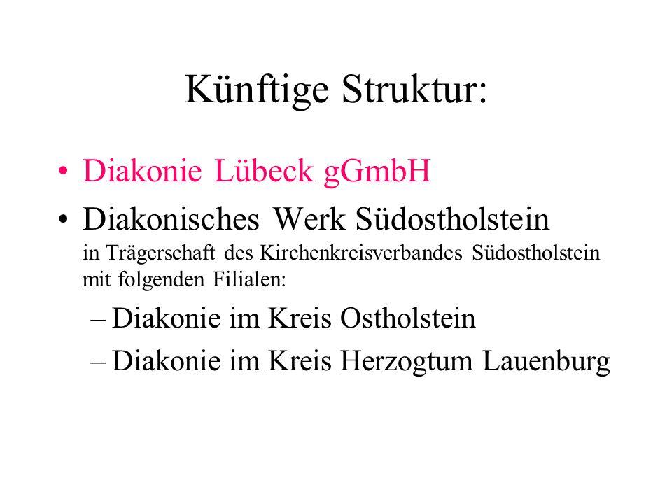 Bisherige Struktur: DW Oldenburg DW Eutin Gemeinde-Diakonie Lübeck gGmbH DW Herzogtum Lauenburg Die Diakonie in Lübeck wird als selbständige gGmbH geführt, die Diakonischen Werke Oldenburg, Eutin und Hzgt.