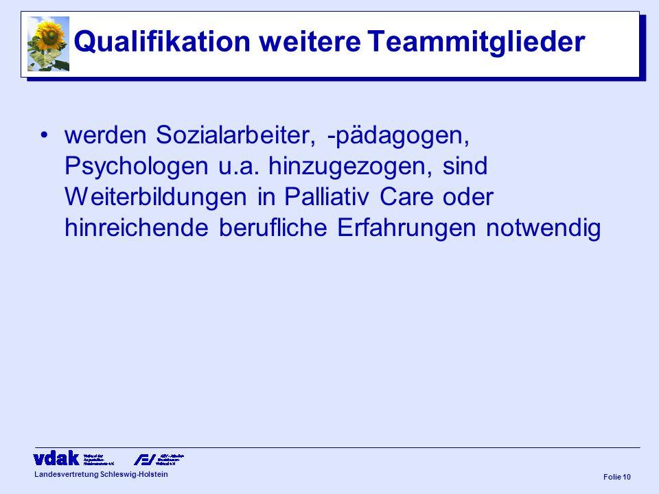 Landesvertretung Schleswig-Holstein Folie 9 Qualifikation Pflegefachkraft Ausbildung Gesundheits-/ Krankenpflege/ Kinder- / Altenpflege Palliativ-Care