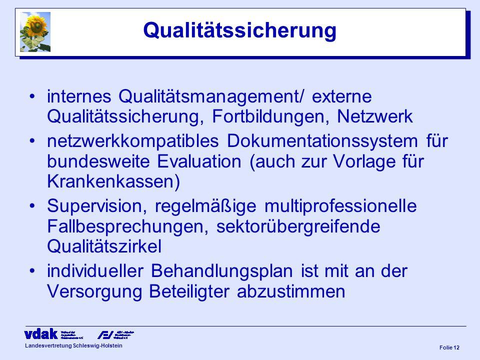 Landesvertretung Schleswig-Holstein Folie 11 sächliche Ausstattung Patentendokumentation –jederzeit für die an der Versorgung beteiligten zugänglich M
