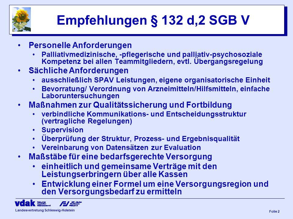 Landesvertretung Schleswig-Holstein Folie 1 Probleme in der Versorgung Kernproblem fehlende Koordination