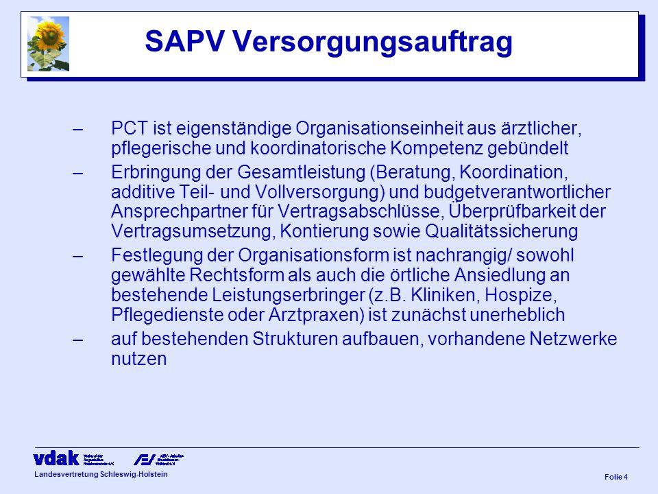 Landesvertretung Schleswig-Holstein Folie 3 SAPV Versorgungsauftrag –individuelle Bedürfnisse und Wünsche des Patienten oder seiner vertrauten Person