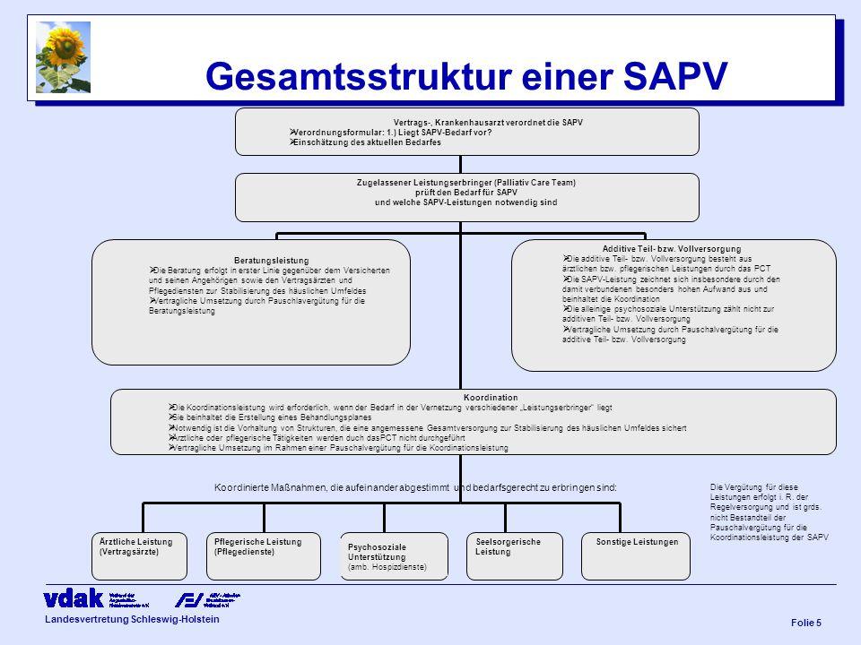 Landesvertretung Schleswig-Holstein Folie 4 SAPV Versorgungsauftrag –PCT ist eigenständige Organisationseinheit aus ärztlicher, pflegerische und koordinatorische Kompetenz gebündelt –Erbringung der Gesamtleistung (Beratung, Koordination, additive Teil- und Vollversorgung) und budgetverantwortlicher Ansprechpartner für Vertragsabschlüsse, Überprüfbarkeit der Vertragsumsetzung, Kontierung sowie Qualitätssicherung –Festlegung der Organisationsform ist nachrangig/ sowohl gewählte Rechtsform als auch die örtliche Ansiedlung an bestehende Leistungserbringer (z.B.