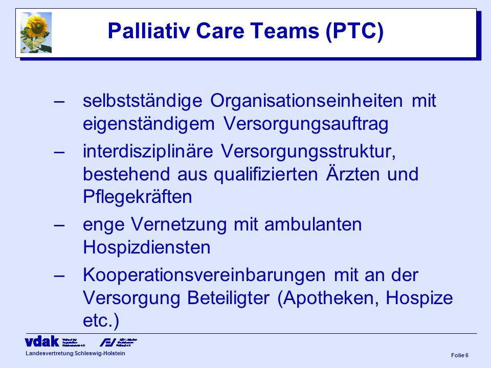Landesvertretung Schleswig-Holstein Folie 5 Gesamtsstruktur einer SAPV Vertrags-, Krankenhausarzt verordnet die SAPV Verordnungsformular: 1.) Liegt SA