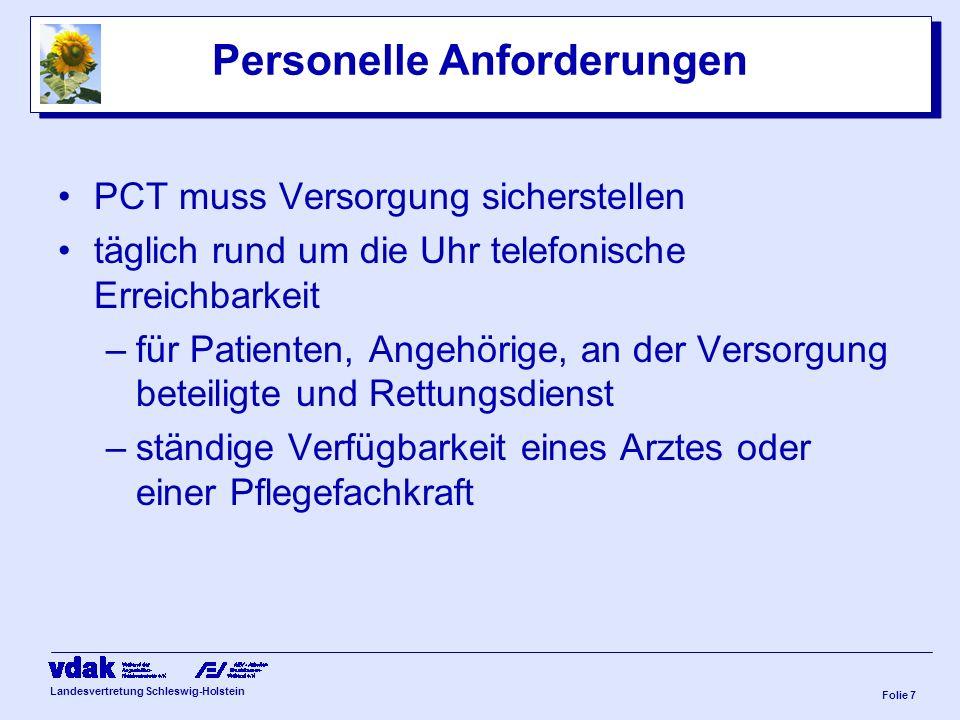 Landesvertretung Schleswig-Holstein Folie 6 Palliativ Care Teams (PTC) –selbstständige Organisationseinheiten mit eigenständigem Versorgungsauftrag –i