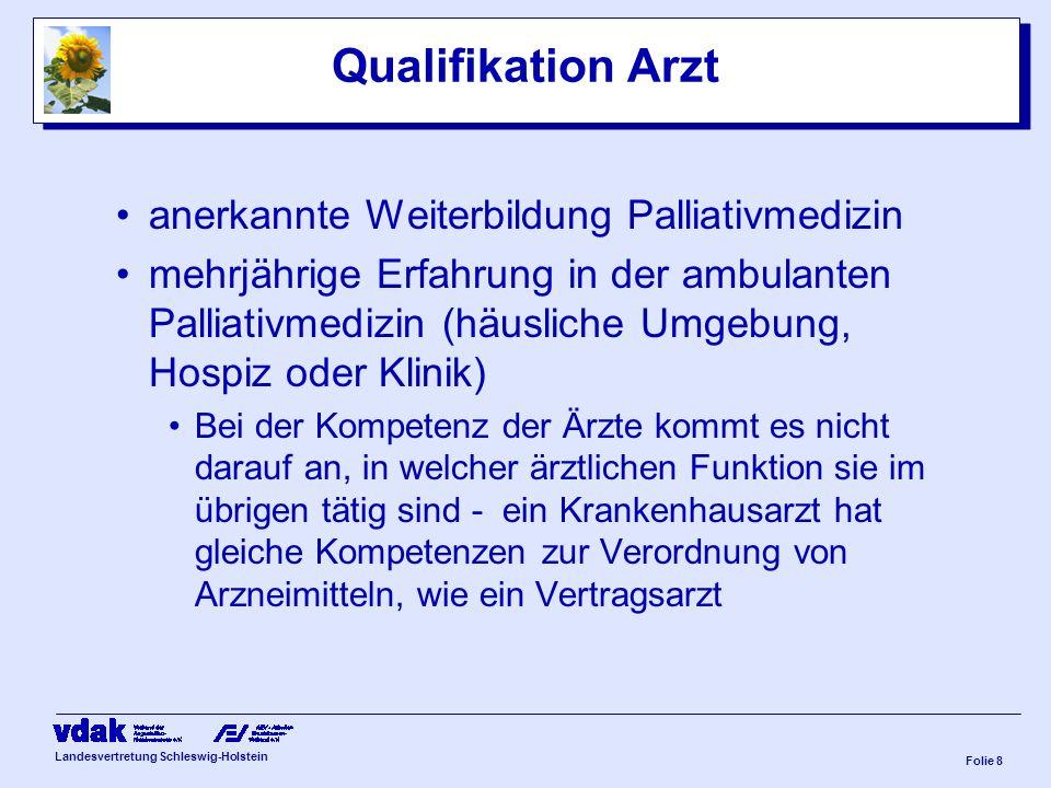 Landesvertretung Schleswig-Holstein Folie 7 Personelle Anforderungen PCT muss Versorgung sicherstellen täglich rund um die Uhr telefonische Erreichbar