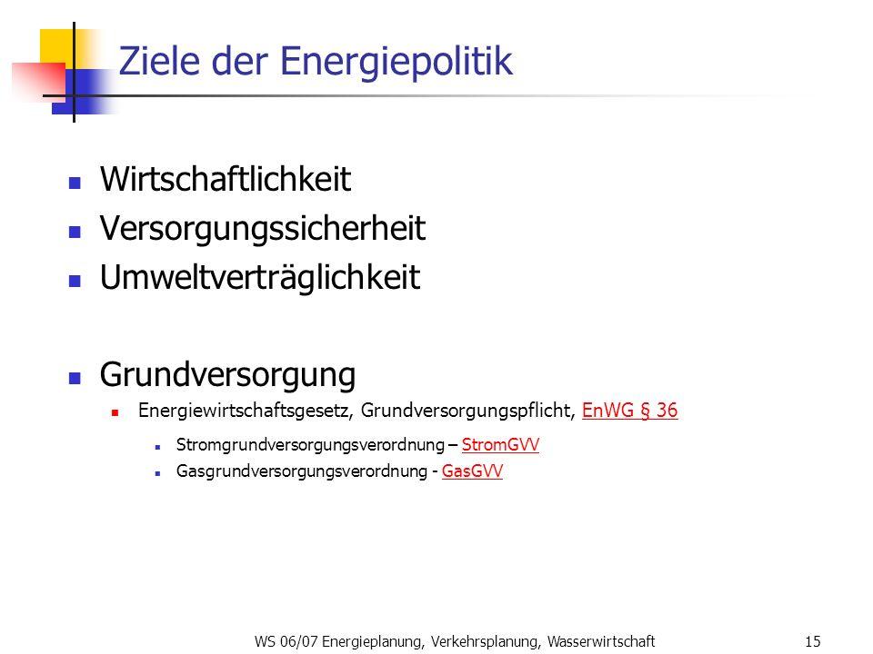 WS 06/07 Energieplanung, Verkehrsplanung, Wasserwirtschaft15 Ziele der Energiepolitik Wirtschaftlichkeit Versorgungssicherheit Umweltverträglichkeit G