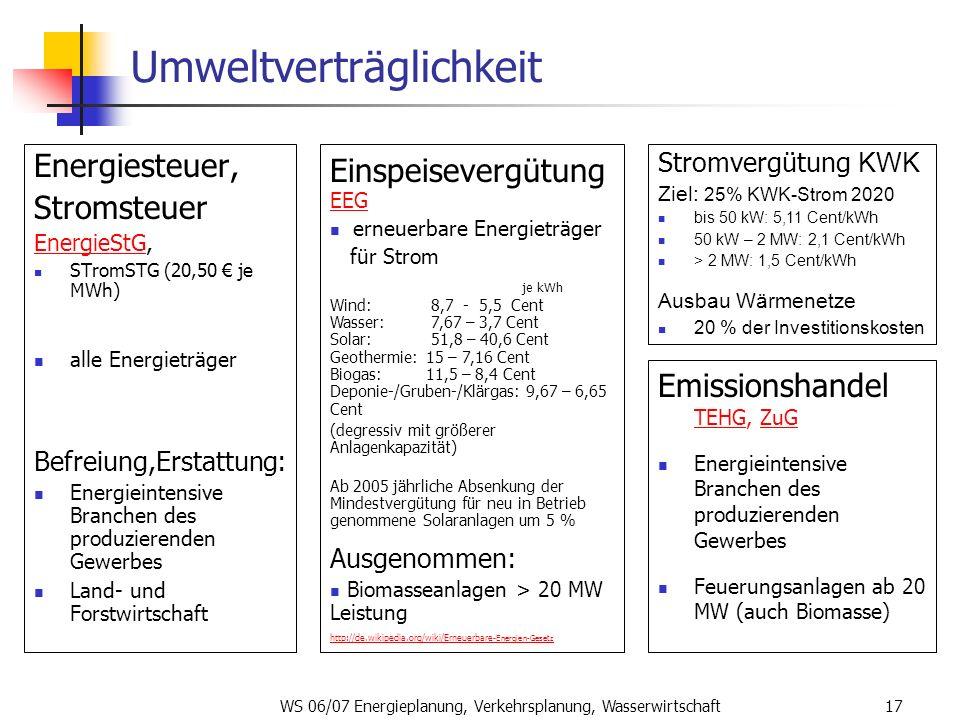 WS 06/07 Energieplanung, Verkehrsplanung, Wasserwirtschaft17 Umweltverträglichkeit Energiesteuer, Stromsteuer EnergieStGEnergieStG, STromSTG (20,50 je
