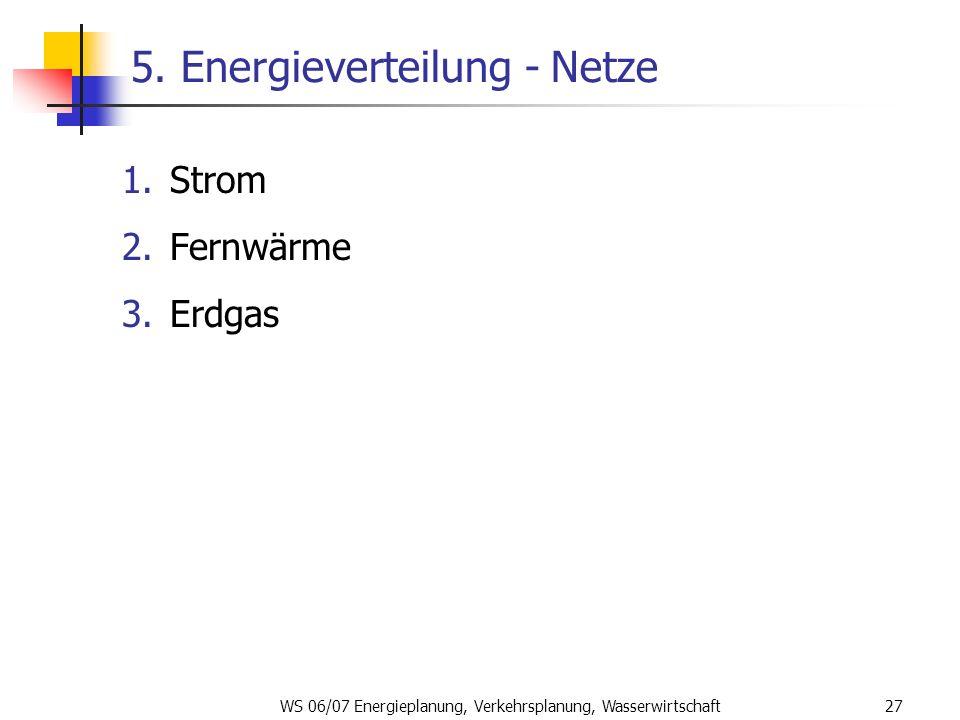 WS 06/07 Energieplanung, Verkehrsplanung, Wasserwirtschaft27 5. Energieverteilung - Netze 1.Strom 2.Fernwärme 3.Erdgas