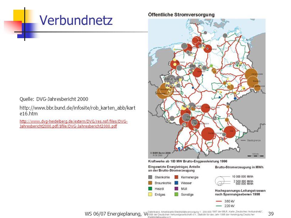 WS 06/07 Energieplanung, Verkehrsplanung, Wasserwirtschaft39 Verbundnetz Quelle: DVG-Jahresbericht 2000 http://www.bbr.bund.de/infosite/rob_karten_abb