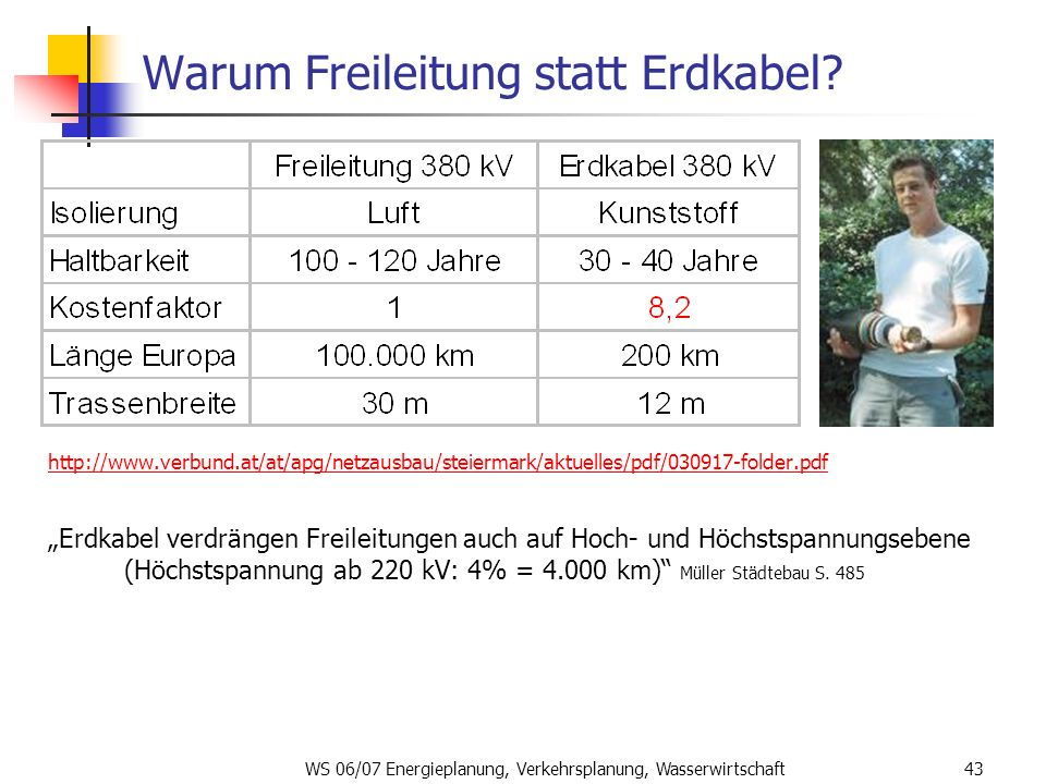 WS 06/07 Energieplanung, Verkehrsplanung, Wasserwirtschaft43 Warum Freileitung statt Erdkabel? http://www.verbund.at/at/apg/netzausbau/steiermark/aktu