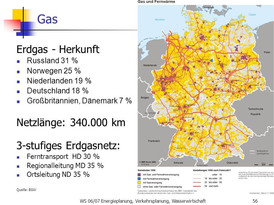 WS 06/07 Energieplanung, Verkehrsplanung, Wasserwirtschaft56 Gas Erdgas - Herkunft Russland 31 % Norwegen 25 % Niederlanden 19 % Deutschland 18 % Groß
