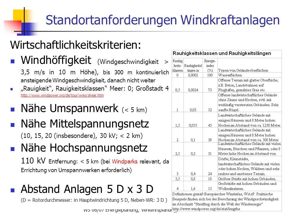 WS 06/07 Energieplanung, Verkehrsplanung, Wasserwirtschaft66 Standortanforderungen Windkraftanlagen Wirtschaftlichkeitskriterien: Windhöffigkeit (Wind