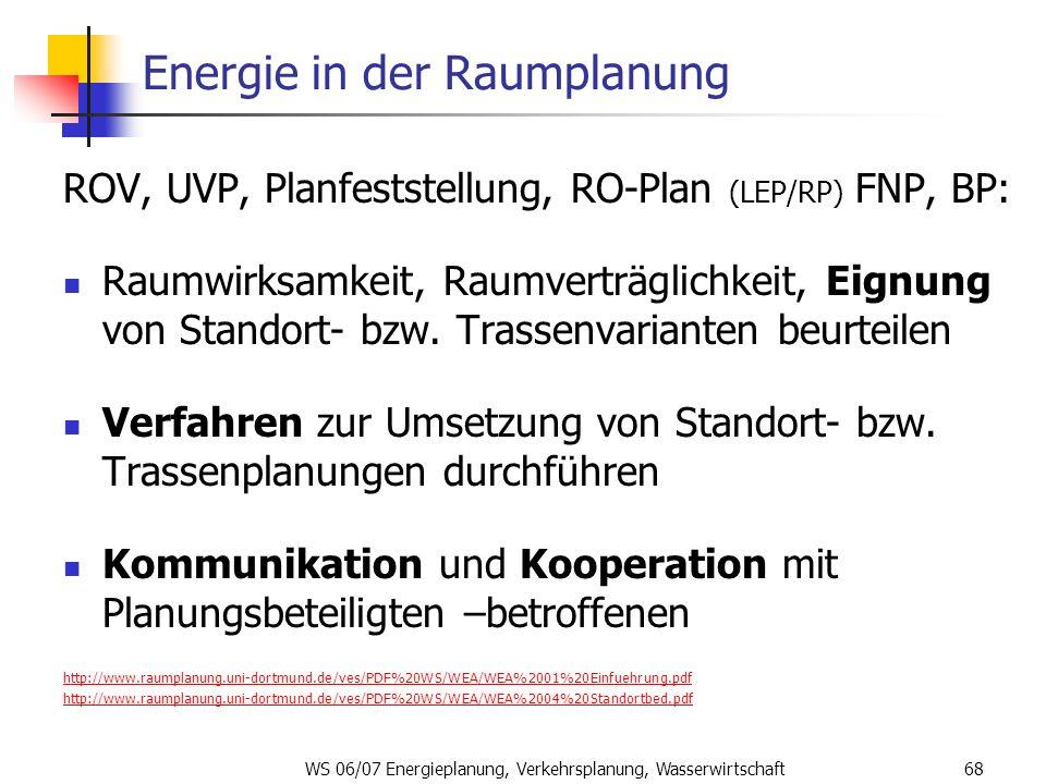 WS 06/07 Energieplanung, Verkehrsplanung, Wasserwirtschaft68 Energie in der Raumplanung ROV, UVP, Planfeststellung, RO-Plan (LEP/RP) FNP, BP: Raumwirk
