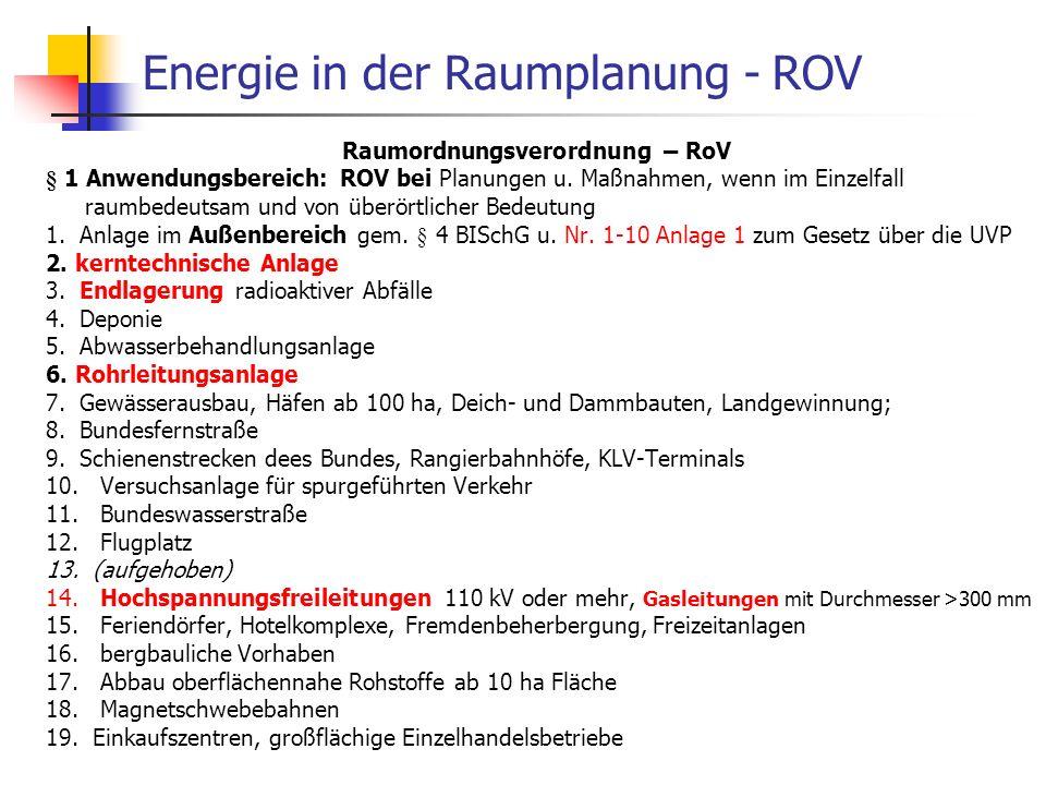 WS 06/07 Energieplanung, Verkehrsplanung, Wasserwirtschaft70 Energie in der Raumplanung - ROV Raumordnungsverordnung – RoV § 1 Anwendungsbereich: ROV