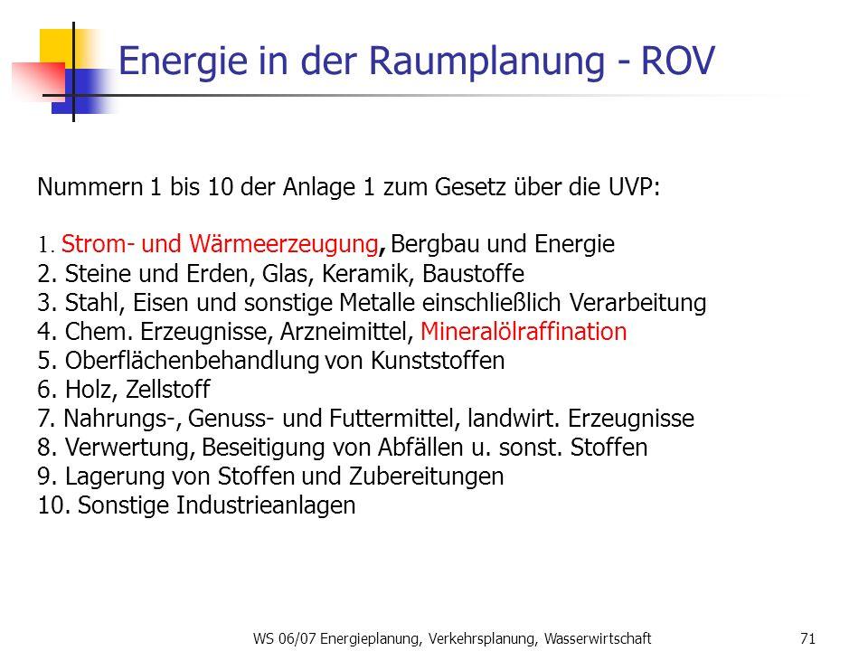 WS 06/07 Energieplanung, Verkehrsplanung, Wasserwirtschaft71 Energie in der Raumplanung - ROV Nummern 1 bis 10 der Anlage 1 zum Gesetz über die UVP: 1