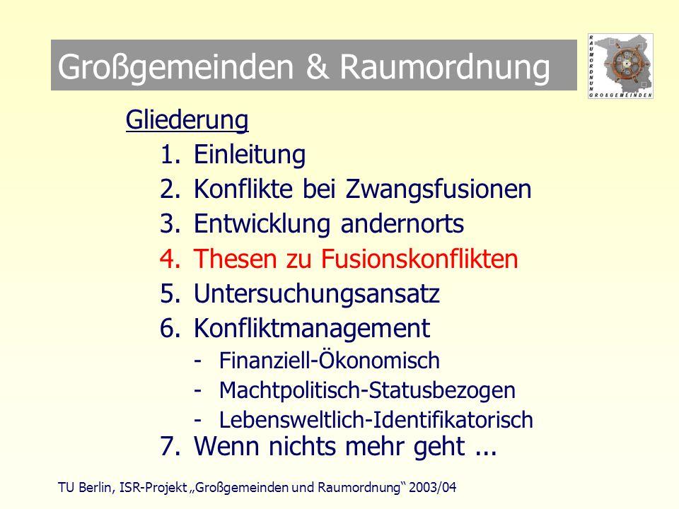 TU Berlin, ISR-Projekt Großgemeinden und Raumordnung 2003/04 Großgemeinden & Raumordnung Gliederung 1.