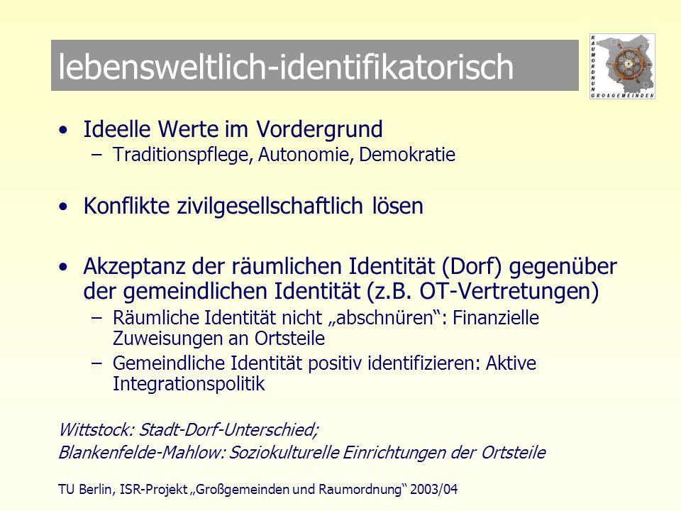 TU Berlin, ISR-Projekt Großgemeinden und Raumordnung 2003/04 lebensweltlich-identifikatorisch Ideelle Werte im Vordergrund –Traditionspflege, Autonomie, Demokratie Konflikte zivilgesellschaftlich lösen Akzeptanz der räumlichen Identität (Dorf) gegenüber der gemeindlichen Identität (z.B.