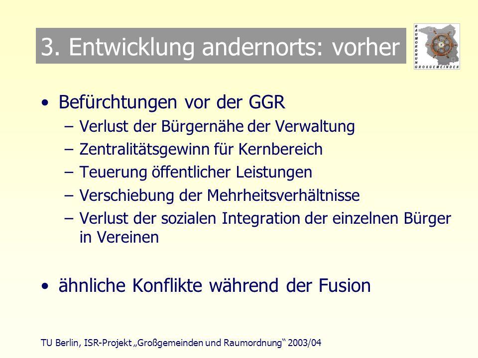 TU Berlin, ISR-Projekt Großgemeinden und Raumordnung 2003/04 Großgemeinden & Raumordnung Arbeitsgruppe: Andere Länder - andere Ziele ?
