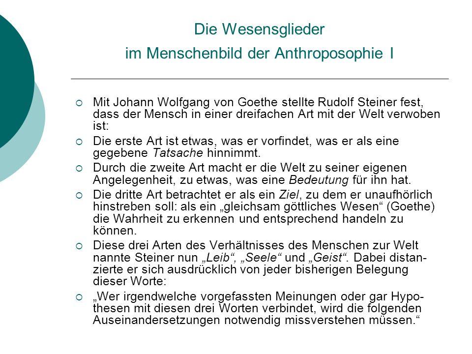 Die Wesensglieder im Menschenbild der Anthroposophie I Mit Johann Wolfgang von Goethe stellte Rudolf Steiner fest, dass der Mensch in einer dreifachen