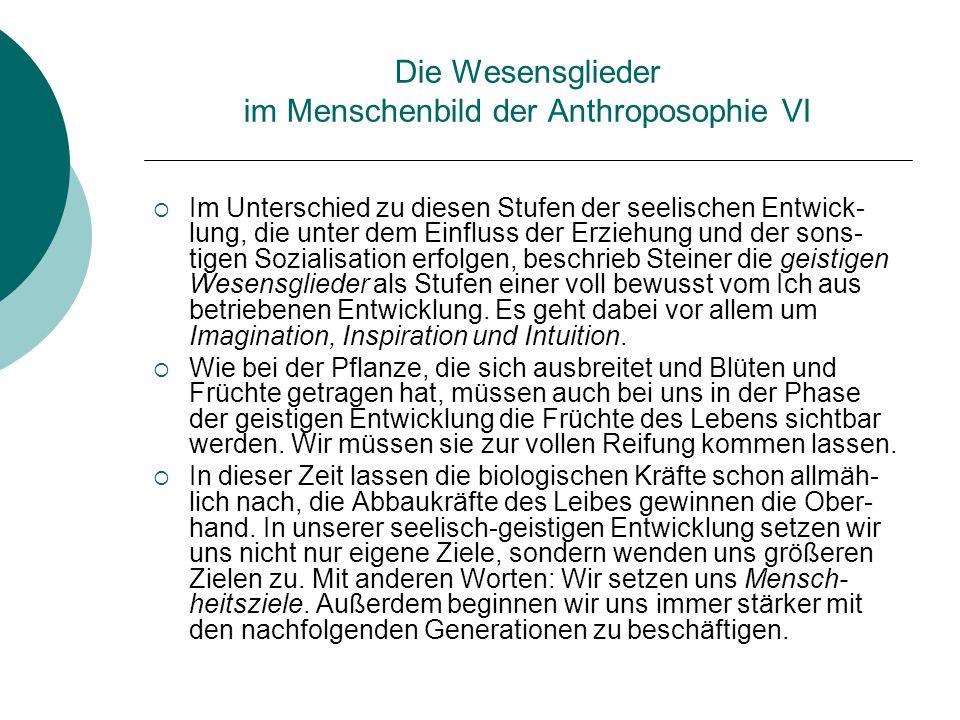 Die Wesensglieder im Menschenbild der Anthroposophie VI Im Unterschied zu diesen Stufen der seelischen Entwick- lung, die unter dem Einfluss der Erzie