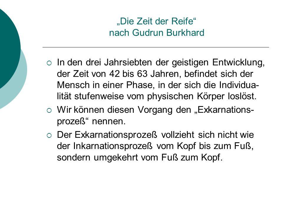 Die Zeit der Reife nach Gudrun Burkhard In den drei Jahrsiebten der geistigen Entwicklung, der Zeit von 42 bis 63 Jahren, befindet sich der Mensch in