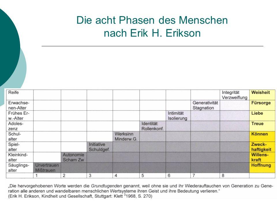 Die acht Phasen des Menschen nach Erik H. Erikson