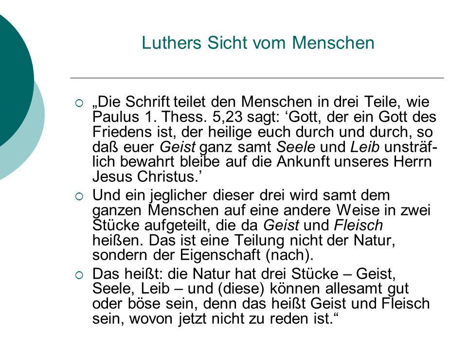 Luthers Sicht vom Menschen Die Schrift teilet den Menschen in drei Teile, wie Paulus 1. Thess. 5,23 sagt: Gott, der ein Gott des Friedens ist, der hei