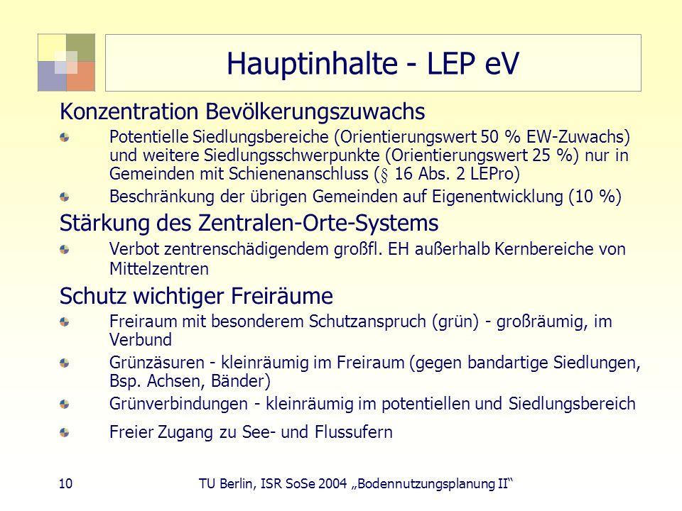 10 TU Berlin, ISR SoSe 2004 Bodennutzungsplanung II Hauptinhalte - LEP eV Konzentration Bevölkerungszuwachs Potentielle Siedlungsbereiche (Orientierun
