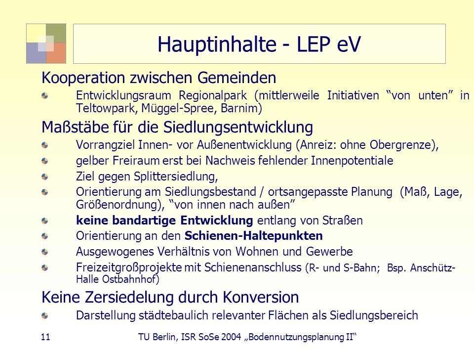 11 TU Berlin, ISR SoSe 2004 Bodennutzungsplanung II Hauptinhalte - LEP eV Kooperation zwischen Gemeinden Entwicklungsraum Regionalpark (mittlerweile I