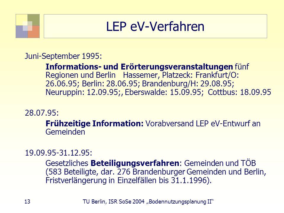 13 TU Berlin, ISR SoSe 2004 Bodennutzungsplanung II LEP eV-Verfahren Juni-September 1995: Informations- und Erörterungsveranstaltungen fünf Regionen u