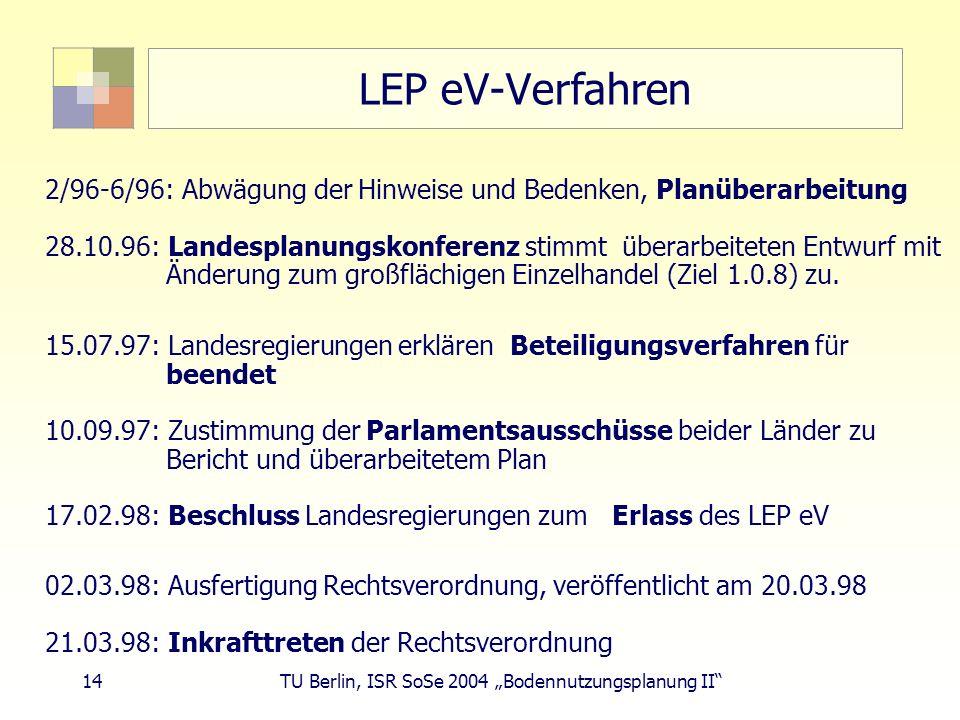 14 TU Berlin, ISR SoSe 2004 Bodennutzungsplanung II LEP eV-Verfahren 2/96-6/96: Abwägung der Hinweise und Bedenken, Planüberarbeitung 28.10.96: Landes