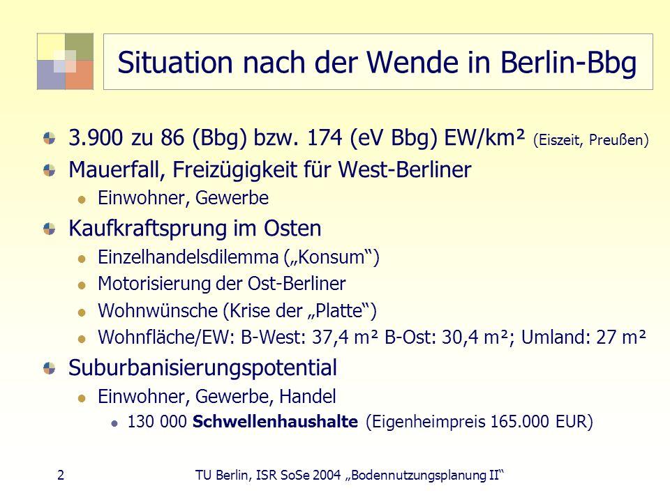 23 TU Berlin, ISR SoSe 2004 Bodennutzungsplanung II LEP eV-Erfolgskontrolle Verhinderung geplanter Wohnbauflächen im eV durch Landesplanung (GL) seit 1990 Typ 3-Gemeinden: 2.062 ha Alle Gemeinden: 3.500 ha 10 x Fläche Flughafen Tempelhof